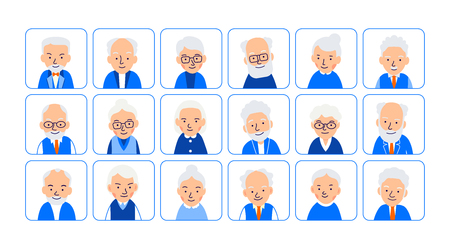 Set avatars old people. Illustrations of heads of elderly people in rounded squares. Symbols aged faces. Illustration of people characters isolated on white background in flat style. Illusztráció