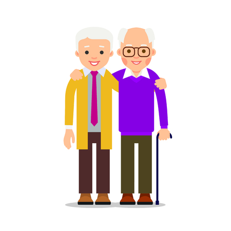 Two men hugging. Male friendship. Friends standing, hugging each other. Elderly man, two best friends. Illustration of people characters isolated on white background in flat style. Illustration
