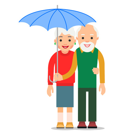 Old couple under umbrella. An elderly man stands and holds an umbrella over an elderly woman. Illustration of people characters isolated on white background in flat style.