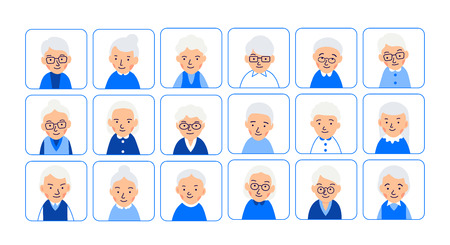 Avatars elderly women. Illustrations of heads of pensioner in rounded squares. Female faces. Illustration of women characters isolated on white background in flat style.