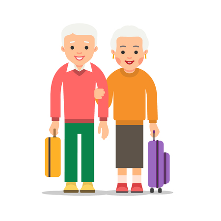 Old couple travel. Two aged people stand with bags and suitcases. Elderly man and woman stand together. Happy family concept. Illustration isolated on white background in flat style.