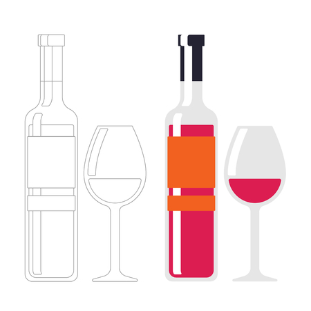 Wine bottle on white background. Wine glass, contour. Red wine color. Alcohol drink sign. Line and color illustration tableware for drinking isolated in flat style.