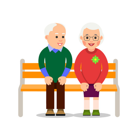 Old couple sit on bench. An elderly man sits on bench and smiling looking at an elderly woman sitting next to him. Illustration of people characters isolated on white background in flat style. Illusztráció