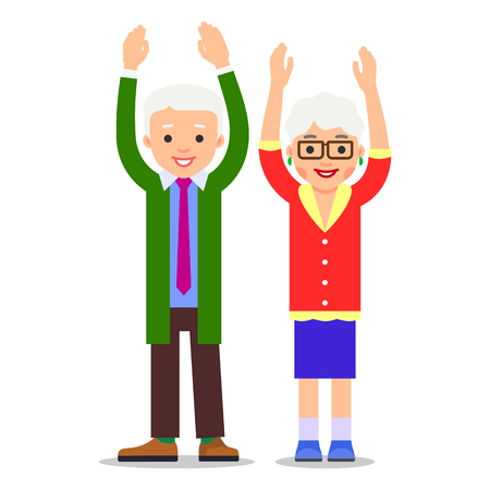 Old people stand with raised hands. An elderly man and an elderly woman scream and gesticulate hands. Illustration of people characters isolated on white background in flat style. Illustration