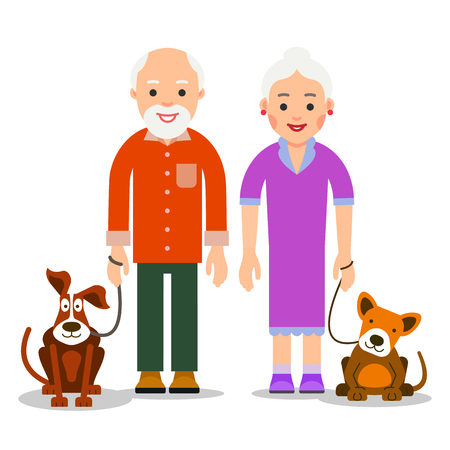 Old people with animal. Senior couple standing next to dogs and smiling. collection. Cute animals and happy family. Illustration of people characters isolated on white background in flat style.