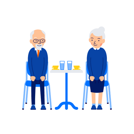 Elderly couple are sitting at a table and drinking coffee and water. Old people enjoying time together. Illustration of people characters isolated on white background in flat style.