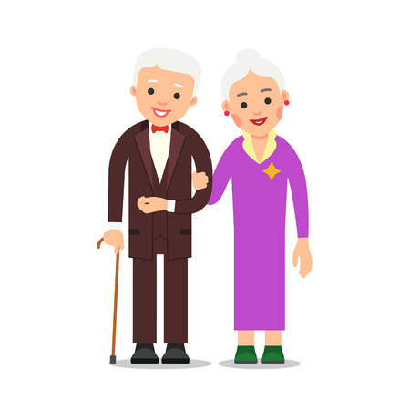 Old couple. Elderly man in suit and bow tie stands with an elderly woman who holds his hand. Grandmother and grandfather. Illustration of people characters isolated on white background in flat style.