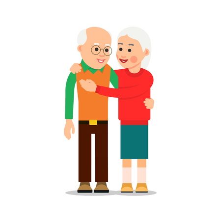 Old couple hugging. Elderly people stand close by. Grandma hugs his grandfather. Man embraces woman. Illustration of people characters isolated on white background in flat style.
