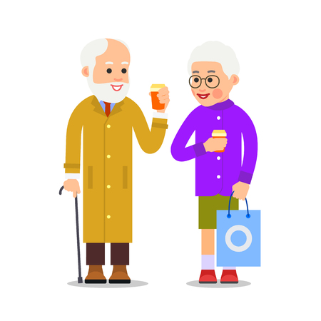 Elderly couple drinking coffee. Old man stands next to an aged woman and they hold coffee cups in their hands. Illustration of people characters isolated on white background in flat style. Çizim