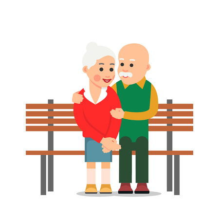 Elderly lone man sits on edge of bench and looks with sadness at happy couple of elderly people. Loneliness. Illustration of people characters isolated on white background in flat style. Illustration