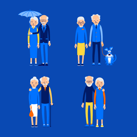 Set in modern style. Happy couple. Love, relationship, romance concept. Cheerful family people outdoors. Senior couple smiling. Illustration of people characters isolated on blue background in flat style.
