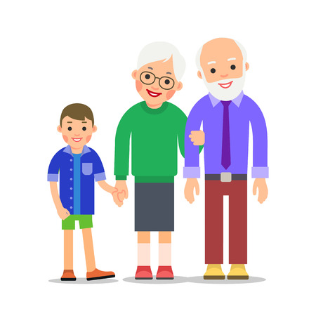 Grandparents and grandchildren. Grandma, grandpa and grandson. Grandmother holding boy hand and holds grandfather hand. Illustration of people characters isolated on white background in flat style. Illusztráció