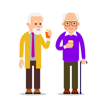Two senior men with canes stand and drink coffee. Pensioners relax with help of hot drinks. Businessmans with cup of coffee during break. Illustration of people characters isolated in flat style.