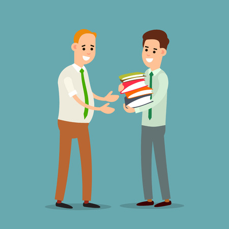 Business communication. Businessman transfers paper archive to an employee. Boss accepts documents from subordinate. Two businessman working in office. Flat illustration isolated on white background. Ilustrace