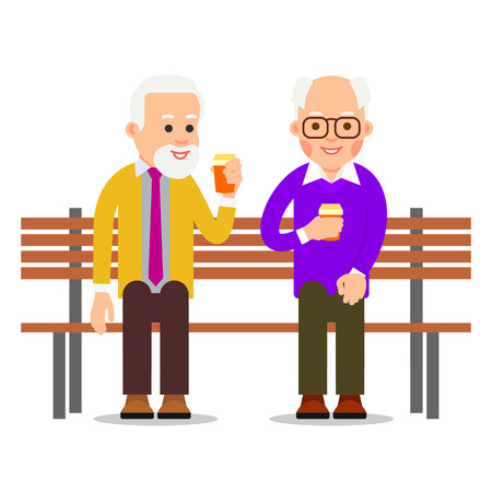 Older men sit on a bench and drink coffee. Old men spend leisure time in communication. Lifestyle of an elderly person. Illustration of people characters isolated on white background in flat style.