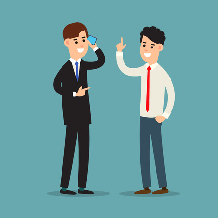 Business communication. Presentation business calling and connection. Using phone in business. Two businessman working in office. Cartoon illustration isolated on white background in flat style. Illusztráció