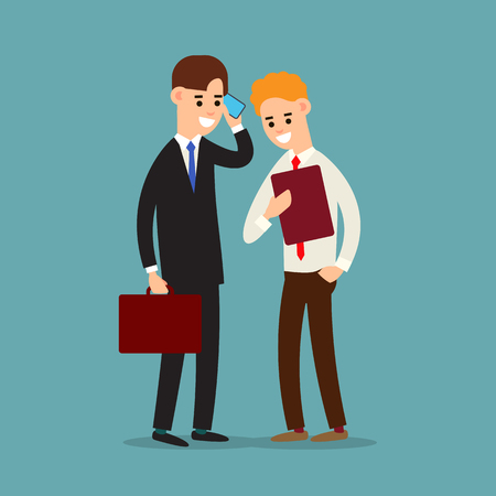 Business communication. Presentation business calling and connection. Using phone in business. Two businessman working in office. Cartoon illustration isolated on background in flat style. Иллюстрация