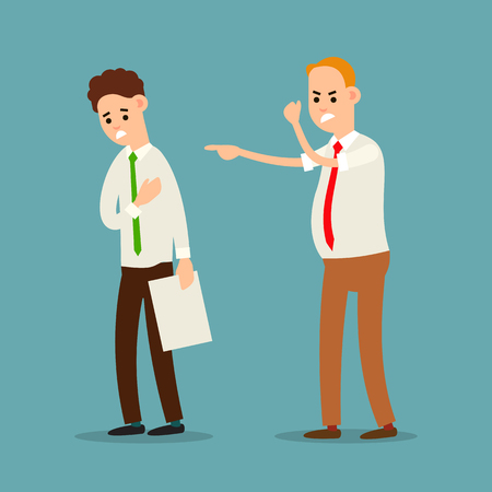 Boss and employee. Chief executive angry with office worker. Shouting at man. Punishment of employer to employee. Official rebuke to person with documentation. Illustration isolated in flat style.