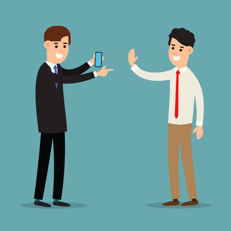 Business communication. Cooperation concept. Using phone in business. Information communication technology. Cartoon illustration isolated on background in flat style. Illusztráció