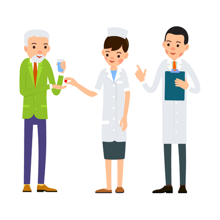 Nurse gives medication to patient. Elderly man with glass of water stretches his hand to pills. Doctor reads the patient medical history. Cartoon illustration isolated on background in flat style.