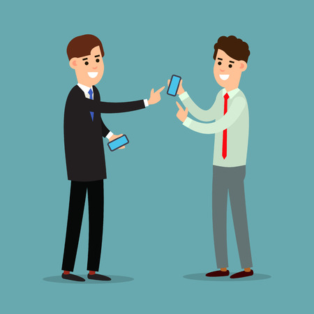 Business communication. Mobile connection, communication concept. Using phone in business. Two businessman working in office. Cartoon illustration isolated on background in flat style.