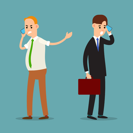 Screaming man on phone. Emotional business communication. Aggressive behavior of a businessman. Stressful situation. Businessman was frustrated by phone. Cartoon illustration isolated in flat style. Illusztráció
