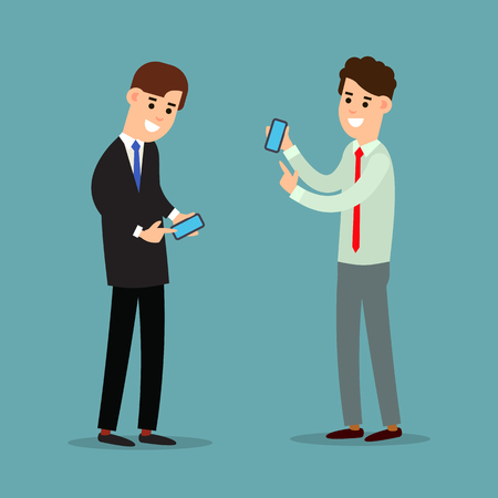 Two businessman working in office showing information on the smartphone screen. Using phone in business. Business communication. Cartoon illustration isolated on white background in flat style.