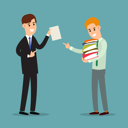 Business communication. Businessman transfers paper archive to an employee. Boss shows document subordinate. Two businessman working in office. Flat illustration isolated on background.