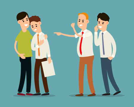 Boss screams and dismisses employee. Colleague soothes a frustrated employee. Manager advises the boss. Problem partnership in the office. Cartoon illustration isolated in flat style.