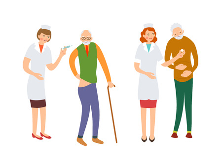 Illustration of elderly nursing care. Nurse holding syringe to give an injection to an elderly patient. Nurse offers a pill to an old man. Cartoon character isolated in flat style.