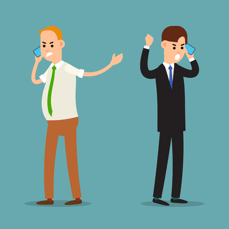 Screaming man on phone. Emotional business communication. Aggressive behavior of a businessman. Stressful situation. Business man shouting on the phone. Cartoon illustration isolated in flat style.