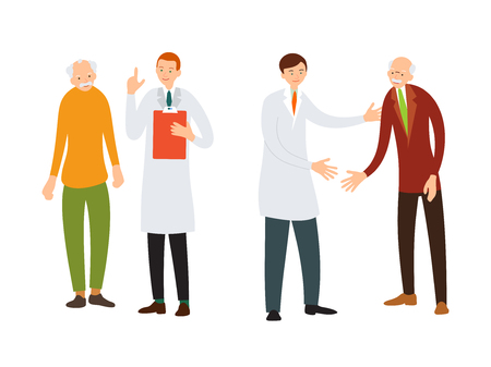Doctor and patient. Medical specialist consulting with an elderly patient. Practitioner welcomes an old sick man. Cartoon illustration isolated in flat style on white background.