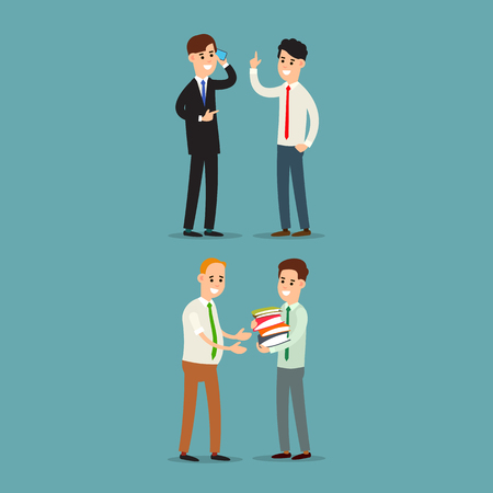 Businessman communication. Businessman transfers paper archive to an employee. Businessman talking on the phone. Two businessman working in office. Flat illustration isolated on background. Ilustrace