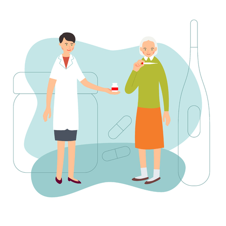 Nurse and patient. Sick elderly woman measures body temperature. Nurse holds out jar of medicine for her. Medical service. Cartoon illustration isolated on background in flat style. Illustration