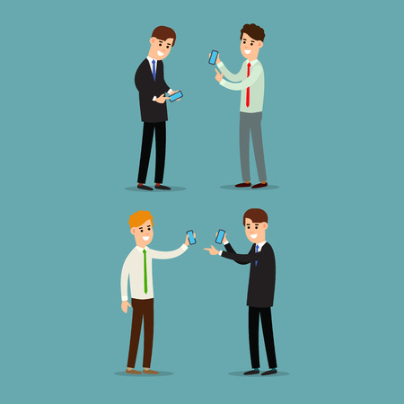 Two businessman working in office showing information on the smartphone screen. Using phone in business. Business communication. Cartoon illustration isolated on background in flat style. Illustration