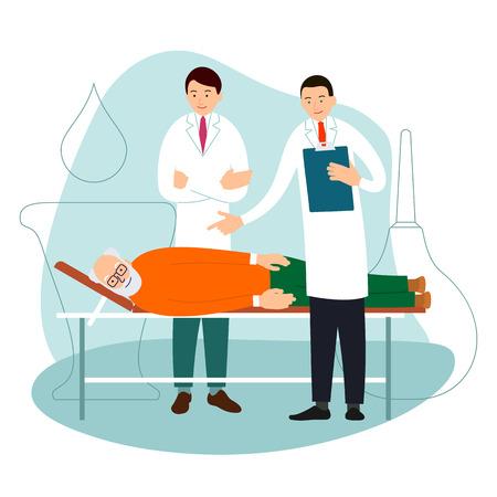 Médico y paciente anciano. Dos médicos están de pie junto a la cama de un anciano. El paciente se acuesta en la cama. Los especialistas consultan y diagnostican. Ilustración de dibujos animados aislado sobre fondo blanco en estilo plano.