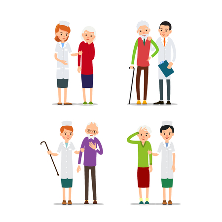 Set nurse and patient or doctor and patient. Physician is standing next to patient. Practitioner supports patient. Medical service. Cartoon illustration isolated on white background in flat style. Illustration