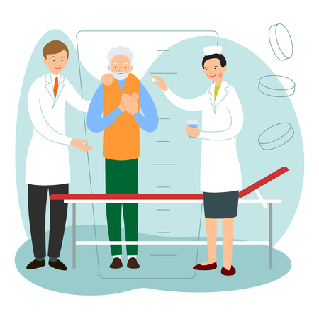 Nurse and doctor suggest patient to go to bed. Nurse is giving medicine to an elderly male patient. Patient care in a hospital. Cartoon illustration isolated in flat style. Illustration