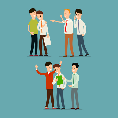 Boss screams and dismisses employee. Colleague soothes employee. Teamwork business. Partnership in office work. Cartoon illustration isolated in flat style.
