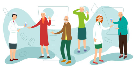 Nurse gives drug to sick elderly woman. Ill man receives medication. Disease old woman has a headache and she wants to take a pill. Healthcare medical concept. Medical illustration in flat style.