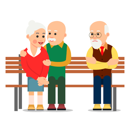 Old couple sit on bench. Elderly man hugs the woman. Next to happy couple is a lonely sad person. Romantic relationship. Illustration of people characters isolated on white background in flat style.
