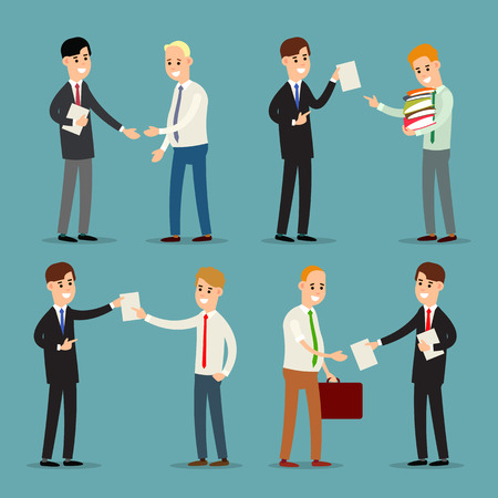 Businessman standing and talking in modern style. Concept business relations. Accounting and job employee with paper documents. Business contract. Illustration isolated on background in flat style. Illusztráció
