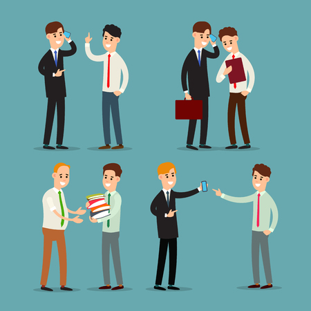 Businessman talking. Young businessmen at work in office. Phone conversation with a colleague. Work with documents. Successful smiling colleagues. Illustration isolated on background in flat.
