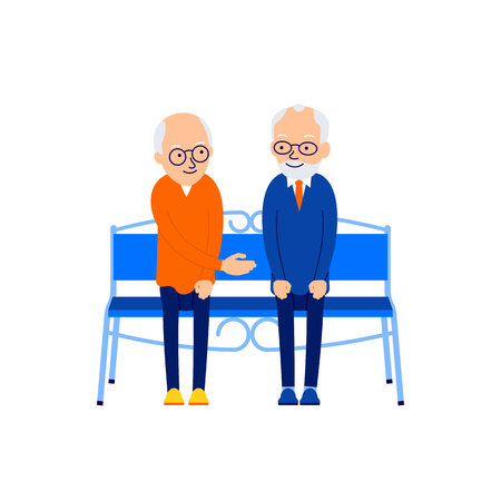 Old man sitting. Two elderly people are sitting on bench. An elderly man extends his hand to another for a greeting. Old friendships. Illustration isolated on white background in flat. Illustration