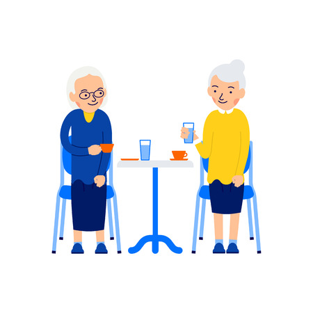 Sitting old woman. Two older women sit at table and drink coffee or tea. Elderly drinking coffee. Old friendships. Illustration isolated on white background in flat.
