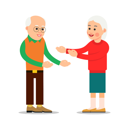 Old people standing and stretch their arms for hugs. Happy parent together. Smiling two pensioner. Meeting old friends. An elderly couple during a love or friendly encounter. Romantic relationship. Illustration