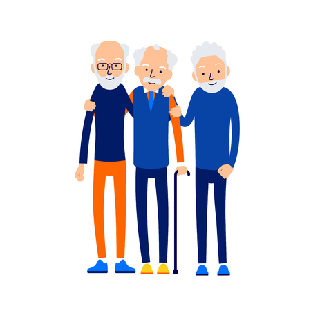 Old men hugging. Three older men are standing together. Romantic relationship. Happy smiling seniors at leisure. Concept male friendship. Cartoon illustration isolated on background in flat style.