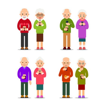 Set old people with coffee. Older couples are standing and drinking coffee. Elderly men and women rest with a cup of coffee. Cartoon illustration isolated on background in flat style.