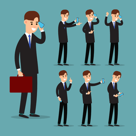 Set businessman with phone in cartoon style on background. Successful young man in a suit in different poses with a telephone. Worker holds smartphone in his hand. Smart person. Flat style.