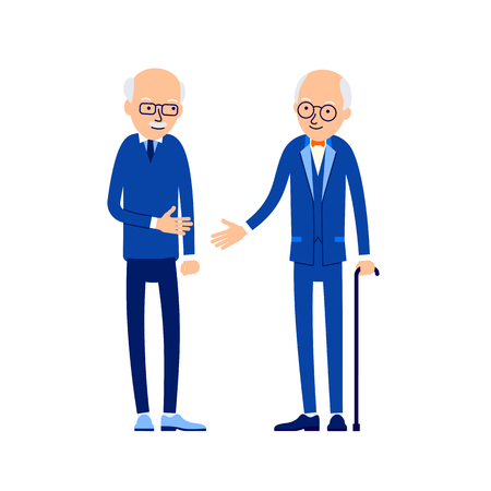 Old man greeting. Two older men greet each other by stretching their arms. Happy retirement. Concept traditional relationship during a business meeting. Illustration isolated on background in flat.